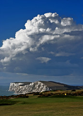 The back nine - Freshwater Bay Golf Club, Isle of Wight (s0ulsurfing) Tags: ocean blue light sea sky cliff cloud sunlight green nature water weather clouds composition brewing wow golf landscape island coast march skies power natural bright wind flag awesome wide shoreline fluffy wideangle cliffs course coastal shore golfing golfcourse vectis isleofwight cumulus stunning coastline fairway 2008 powerful isle cloudscape nube channel englishchannel wight meteorology freshwater nephology lamanche westwight bunkers cumulusmediocris 10mm freshwaterbay tennysondown sigma1020 mediocris s0ulsurfing impressedbeauty aplusphoto coastuk freshwaterbaygolfclub