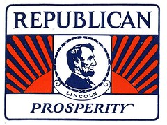 Lincoln, Reagan, Rove, Lieberman (Depression Press) Tags: blue red usa white america vintage logo stars design us 1930s election graphic united president politics ornament seal badge printing americana states letterpress republican patriotism democrat 2008election depressionpress typecut