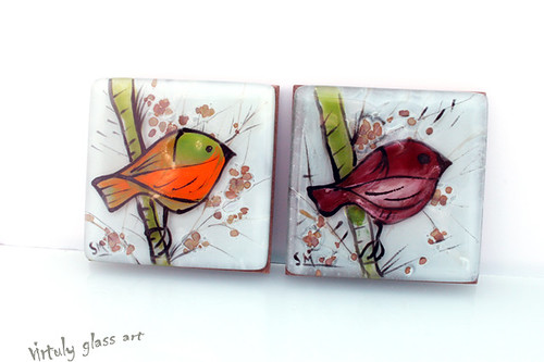 bird Style /fused glass painted picture by virtuly art in glass