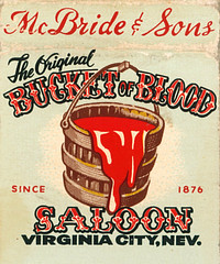 Bucket of Blood Saloon, Virginia City (jericl cat) Tags: art illustration bar vintage design bucket blood nevada saloon virginiacity sons mcbride matchbook bucketofblood since1876