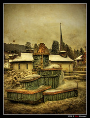 Fountain @ Gstaad (Switzerland) (Eric Rousset) Tags: voyage travel sky snow alps tree texture church photoshop photography switzerland bravo raw village suisse cs2 artistic expression sony cybershot ciel adobe neige bec 2008 glise soe hdr highdynamicrange photomanipulated gstaad dscf828 artisticexpression photomatix supershot tonemapping outstandingshots passionphotography fineartphotos golddragon mywinners abigfave anawesomeshot aplusphoto flickrplatinum superbmasterpiece infinestyle diamondclassphotographer megashot ysplix theunforgettablepictures betterthangood proudshopper theperfectphotographer theroadtoheaven goldstaraward piproduction ericrousset ericroussetphotography