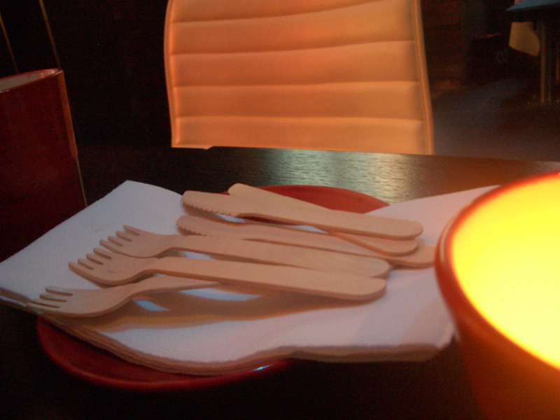 Wooden cutlery at Cafe Vue