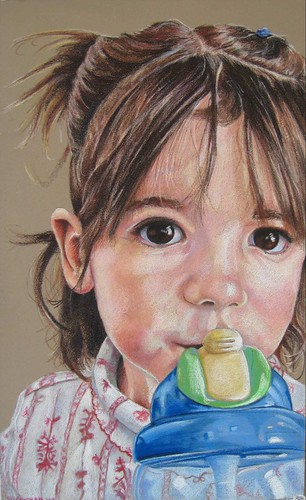 Colored pencil drawing entitled Thirsty