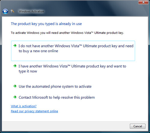 Vista SP1 activation error