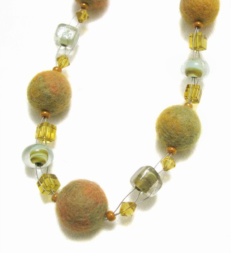 Weaved Felted Bead Necklace