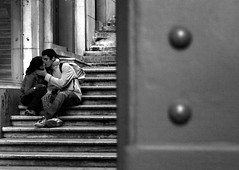 Stalking Love (Sandra_R) Tags: life city boy people bw white black love portugal girl stairs outdoors blackwhite kiss exterior lisboa lisbon details urbanscenes santajusta betterthangood ilustrarportugal