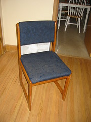 Dirty, broken chair from Freecycle