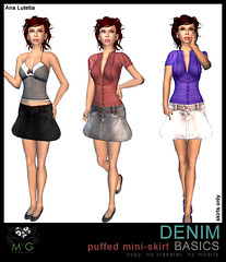 [MG fashion] DENIM puffed mini-skirt BASICS