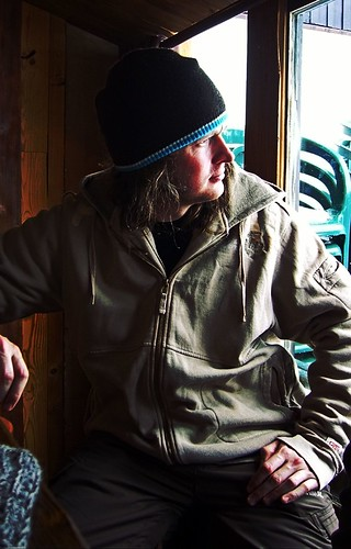 Photo of me, in a bar in Val d'Isere. (photo by Dave Gratton)