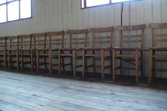 Line of chairs (minus1dave) Tags: woodenchairs woodenfloors woodenwalls