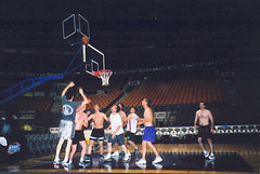 shot is up (glenn~) Tags: 2001 shirtless toronto clock basketball bench acc paint purple shot floor dinosaur chairs off scanned playoffs bball nba raptors aircanadacenter aircanadacentre toronot rebounding