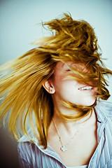 (frischmilch) Tags: portrait people woman motion blur girl smile face wall female hair studio deutschland moving jump action head motionblur shake cvd clarissa