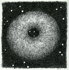 pierced hairy ball (siptakg) Tags: sky night ink hole drawing space sphere siptak