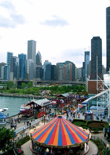 Chicago Skyline from Ferris Wheel