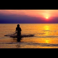 Dutch Beach (siebe ) Tags: sunset sea holland beach girl dutch silhouette strand zonsondergang nederland thenetherlands zee noordwijk langevelderslag aplusphoto llovemypics strandstock
