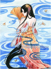 koi mermaid (uminomamori) Tags: blue red woman water yellow illustration painting asian japanese fairy fantasy koi kimono obi mermaid gingko
