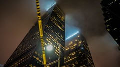 Gotham (PhotonLab) Tags: dtla lowlight losangeles downtown la pano wideangle wideprime primelens zeiss zeisslens zeissglass zeissbatis batis distagon 25mmf2 25mm sony socal sonya7ii night nightscene nightshooter buildings architecture skyline skyrise skyscraper highrise streets urban cityscape citylights city nocturnal noflash building outdoor lookup looking up pattern geometric lines abstract black background texture indoor symmetry photo border fog sky caution yellow tape cautiontape gotham gothamcity
