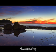 Awakening (The0dora Photography) Tags: red colour beach water sunrise coast rocks central sigma 1770 forresters dorcam17