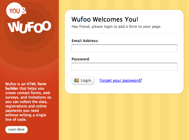 Wufoo Form Embed Kit Login