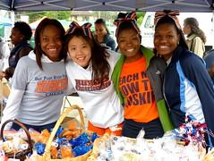 Cheerleaders at the bake sale