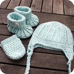Mint crochet baby set (coffee n crochet) Tags: baby hat shoes crochet mint bamboo gift booties earflap mittens