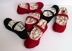 Perfect day for slipper  sewing. (netamir) Tags: red home shoes handmade craft textile homemade slippers