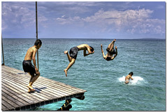 | / \ * (Chee Seong) Tags: blue vacation sky beach clouds canon island evening pier friend weekend dive pole hooray survivorisland canon2470mm pulautiga 400d