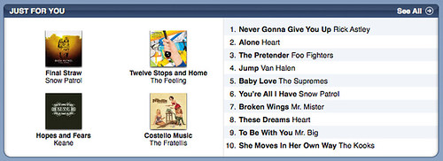 iTunes recommends: #1 Never Gonna Give You Up — Rick Astley