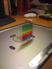 Rainbow Logo Inlay Ready to Go (Mustafa K. Isik) Tags: apple logo case casemodding macbookpro