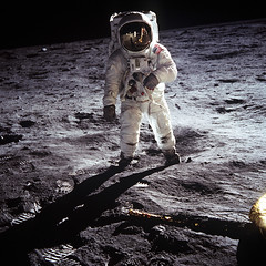 Neil A. Armstrong - Astronaut Edwin Eugene 'Buzz' Aldrin, Jr. on Moon (1969)