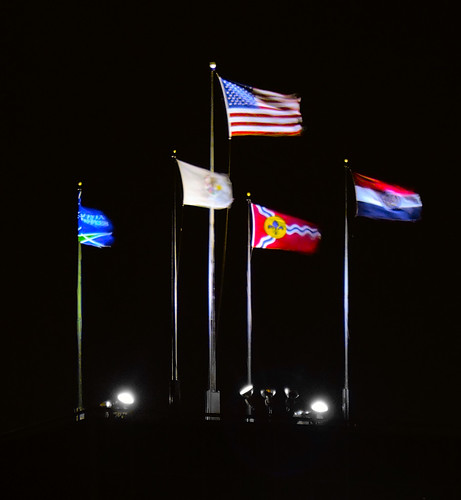 Flags at night, in downtown Saint Louis, Missouri, USA