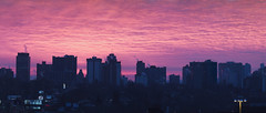 Downtown Sunrise (Umer Javed) Tags: rawtherapee hugin hamilton ontario canada cans2s hfg morning sunrise clouds city skyline building f4 panorama stitched canon t3i colourful inspirational