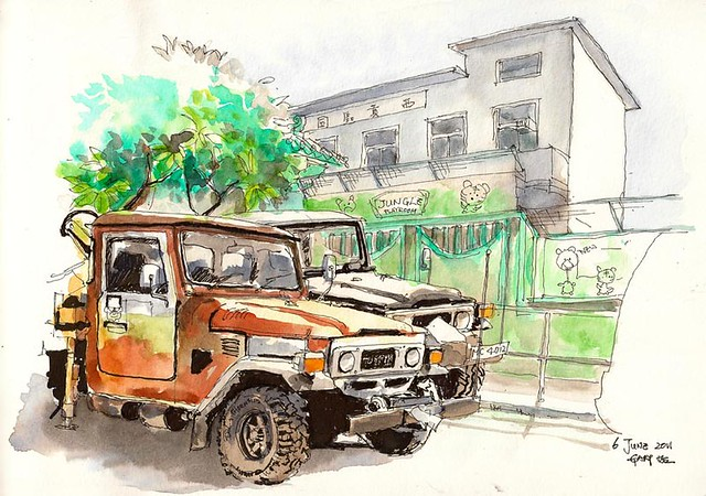 Jeeps, Playroom, Plumeria rubra and Sai Kung Village Association 吉普車、幼兒園、雞蛋花、西貢區同鄉會