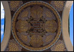 Mathildenhhe mosaic in full size (xollob58) Tags: fish museum germany deutschland gold architechture hessen eagle mosaic tiger adler lion wideangle fisch dome architektur jugendstil hesse mathildenhhe mosaik lwen weitwinkel sigma1020mmf456exdchsm kppel flickrgolfclub darsmstadt
