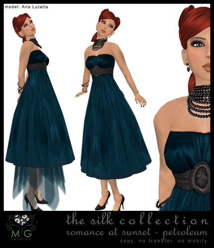 [MG fashion] The Silk Collection - Romance at sunset (petroleum)