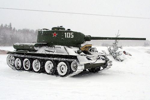 un tanque durante el invierno