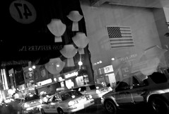 (Susan NYC) Tags: nyc reflection night flag diamonddistrict leicam8 emptyjewelrycase reflectionsmirrors
