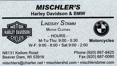 Mischler's (Business Cards Collected) Tags: usa wisconsin business card harleydavidson motorcycle bmwl