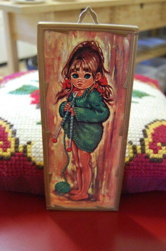 Super Kitsch thrifted Knitting Girl picture - $2