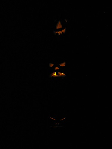 jack o lanterns, in the dark
