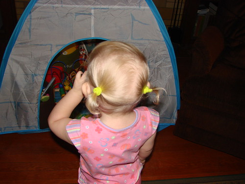 First pigtails, rear view