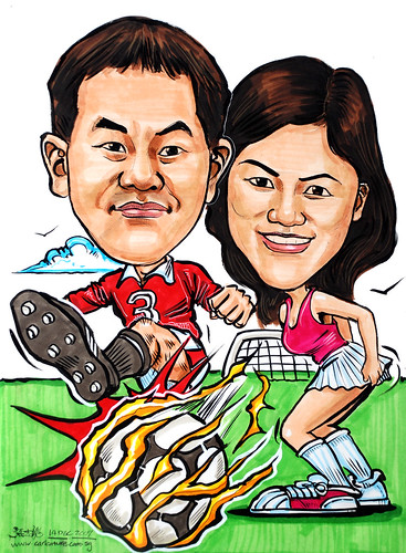 Caricatures couple soccer cheer lady