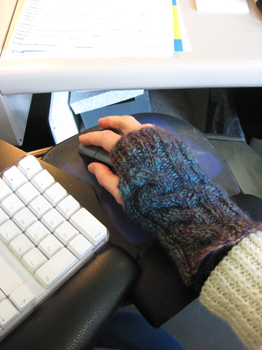 fingerless mitts from Mom