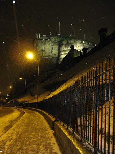 Edinburgh castle in the snow
