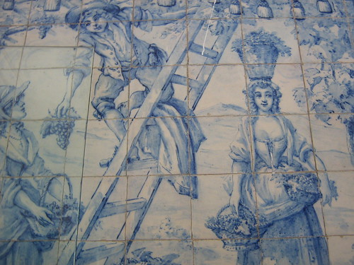 the harvest - old portuguese tile (detail of a large wall)