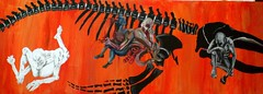 Starving In The Belly Of a Whale (Ori [Parshedona] Goldberg) Tags: flesh pen painting skeleton acrylic drawing hunger anatomy violence nudity starvation disgust 12thgrade superimposition oilcolors bagrut