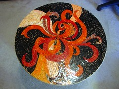 Untitled ~ Stained Glass Mosaic on Wood (MysticMosaics) Tags: table mosaic swirls glassmosaic mosaictable mosaicfurniture stainedglassmosaic custommosaic