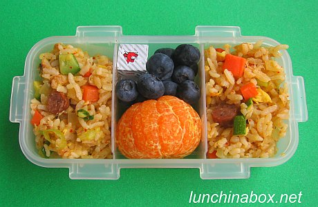 Kimchi fried rice bento lunch for preschooler
