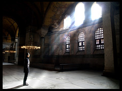 in Hagia Sophia (Atilla1000) Tags: lighting boy man church turkey trkiye istanbul mosque hagiasophia xoxox erturul atilla1000