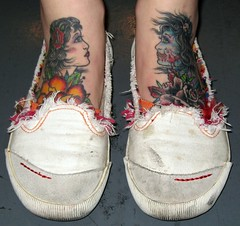 Foot Tattoos by Hector Fong of Rock of Ages (HeadOvMetal) Tags: feet shop tattoo austin foot march texas 2008 atx rockofages slamar hectorfong